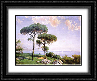 Pistachio Trees 24x20 Black or Gold Ornate Framed and Double Matted Art Print by Hoca Ali Riza