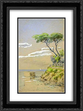 Suluboya 18x24 Black or Gold Ornate Framed and Double Matted Art Print by Hoca Ali Riza