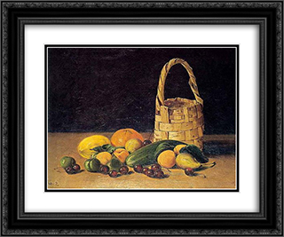 Untitled (Still Life) 24x20 Black or Gold Ornate Framed and Double Matted Art Print by Hoca Ali Riza