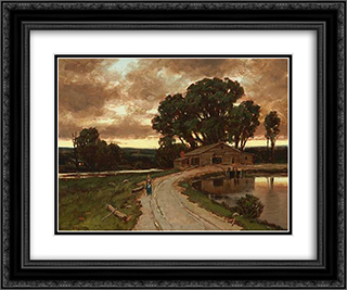 Figure on the road and farmhouse at sunset 24x20 Black or Gold Ornate Framed and Double Matted Art Print by Homer Watson