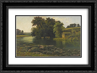 Grand River Valley 24x18 Black or Gold Ornate Framed and Double Matted Art Print by Homer Watson