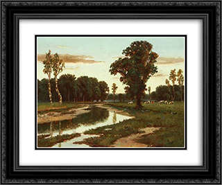 Grazing cattle near the river 24x20 Black or Gold Ornate Framed and Double Matted Art Print by Homer Watson