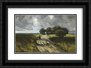 Herding Sheep 24x18 Black or Gold Ornate Framed and Double Matted Art Print by Homer Watson