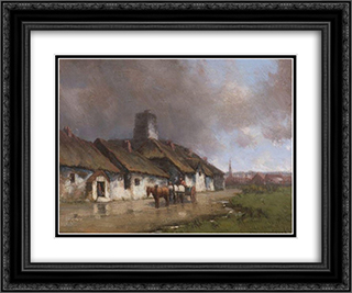 Horse and Cart With Cottage Under Stormy Sky 24x20 Black or Gold Ornate Framed and Double Matted Art Print by Homer Watson