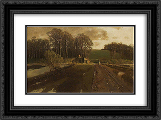 Horse and Rider in a Landscape 24x18 Black or Gold Ornate Framed and Double Matted Art Print by Homer Watson