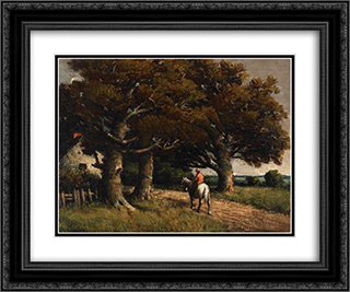 Landscape with Horse and Rider 24x20 Black or Gold Ornate Framed and Double Matted Art Print by Homer Watson