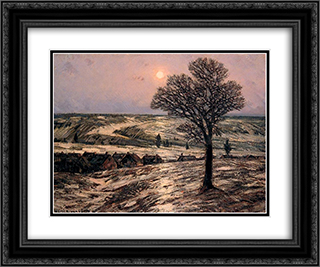 Moonlight, Waning Winter 24x20 Black or Gold Ornate Framed and Double Matted Art Print by Homer Watson