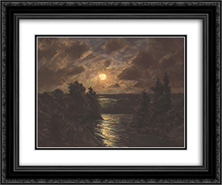 Moonlight on the Grand 24x20 Black or Gold Ornate Framed and Double Matted Art Print by Homer Watson