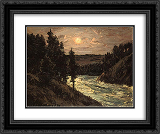 Mountain River 24x20 Black or Gold Ornate Framed and Double Matted Art Print by Homer Watson