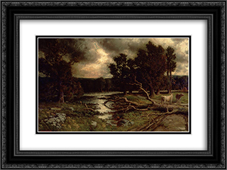 Near the Close of a Stormy Day 24x18 Black or Gold Ornate Framed and Double Matted Art Print by Homer Watson