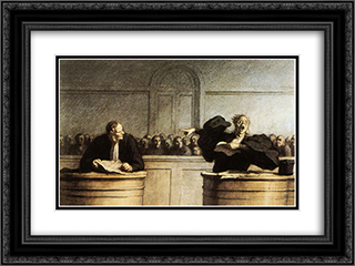 A Famous Cause 24x18 Black or Gold Ornate Framed and Double Matted Art Print by Honore Daumier