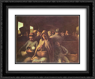 A Wagon of the Third Class 24x20 Black or Gold Ornate Framed and Double Matted Art Print by Honore Daumier