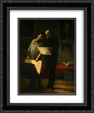 Advice to a Young Artist 20x24 Black or Gold Ornate Framed and Double Matted Art Print by Honore Daumier