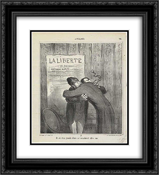 And these two major debris consoled them 20x22 Black or Gold Ornate Framed and Double Matted Art Print by Honore Daumier