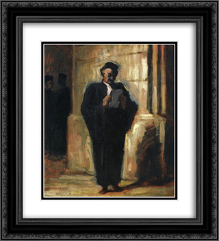 Attorney Reading 20x22 Black or Gold Ornate Framed and Double Matted Art Print by Honore Daumier