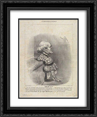 B. Sarrans Young 20x24 Black or Gold Ornate Framed and Double Matted Art Print by Honore Daumier