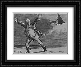 Babinet Deciding to Go off the Sun 24x20 Black or Gold Ornate Framed and Double Matted Art Print by Honore Daumier