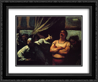 Barker at a fair booth 24x20 Black or Gold Ornate Framed and Double Matted Art Print by Honore Daumier