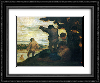 Bathers 24x20 Black or Gold Ornate Framed and Double Matted Art Print by Honore Daumier