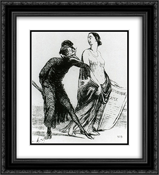 Beautiful injury, want you to accept my arm 20x22 Black or Gold Ornate Framed and Double Matted Art Print by Honore Daumier
