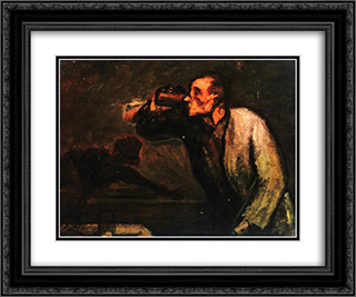 Billiard Players (The Drinker) 24x20 Black or Gold Ornate Framed and Double Matted Art Print by Honore Daumier