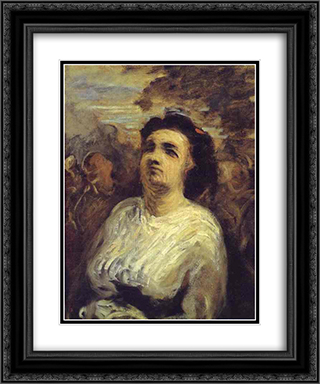 Bust of a Woman 20x24 Black or Gold Ornate Framed and Double Matted Art Print by Honore Daumier