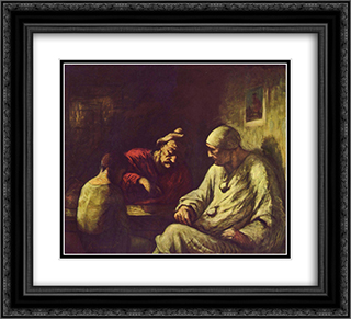 Catch the juggler 22x20 Black or Gold Ornate Framed and Double Matted Art Print by Honore Daumier