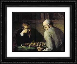 Chess-Players 24x20 Black or Gold Ornate Framed and Double Matted Art Print by Honore Daumier