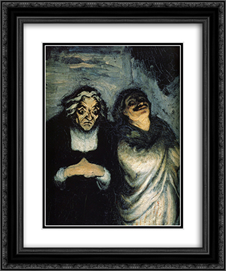 Comedy scene (scene from Moliere) 20x24 Black or Gold Ornate Framed and Double Matted Art Print by Honore Daumier