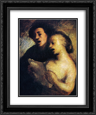 Couples Singers 20x24 Black or Gold Ornate Framed and Double Matted Art Print by Honore Daumier