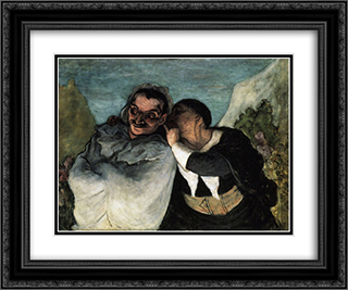 Crispin and Scapin 24x20 Black or Gold Ornate Framed and Double Matted Art Print by Honore Daumier