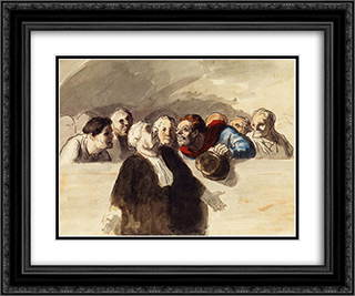 Defense Attorney 24x20 Black or Gold Ornate Framed and Double Matted Art Print by Honore Daumier