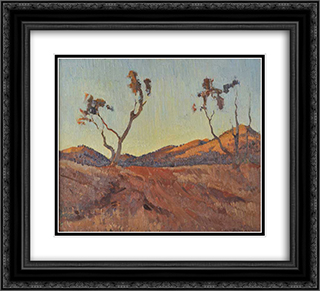 Evening light, Flinders Ranges, SA 22x20 Black or Gold Ornate Framed and Double Matted Art Print by Horace Trenerry