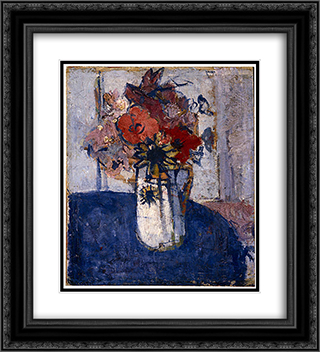 Flower piece 20x22 Black or Gold Ornate Framed and Double Matted Art Print by Horace Trenerry