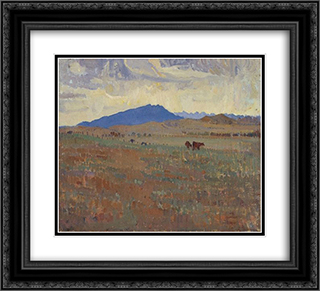 Hawker, Flinders Ranges 22x20 Black or Gold Ornate Framed and Double Matted Art Print by Horace Trenerry