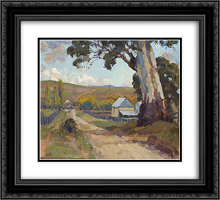 Mt. Barker 22x20 Black or Gold Ornate Framed and Double Matted Art Print by Horace Trenerry