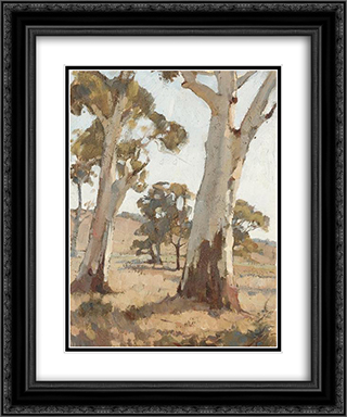 Study, Gum Trees, Woodside 20x24 Black or Gold Ornate Framed and Double Matted Art Print by Horace Trenerry