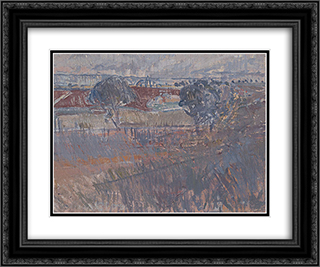 The ploughed field 24x20 Black or Gold Ornate Framed and Double Matted Art Print by Horace Trenerry