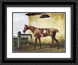 A Saddled Race Horse Tied to a Fence 24x20 Black or Gold Ornate Framed and Double Matted Art Print by Horace Vernet