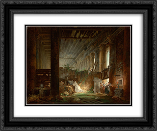 A Hermit Praying in the Ruins of a Roman Temple 24x20 Black or Gold Ornate Framed and Double Matted Art Print by Hubert Robert