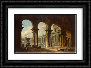 Ancient Ruins Used as Public Baths 24x18 Black or Gold Ornate Framed and Double Matted Art Print by Hubert Robert