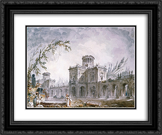 Architectural Fantasy 24x20 Black or Gold Ornate Framed and Double Matted Art Print by Hubert Robert