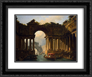 Architectural Landscape with a Canal 24x20 Black or Gold Ornate Framed and Double Matted Art Print by Hubert Robert