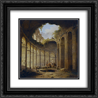 Colosseum, Rome 20x20 Black or Gold Ornate Framed and Double Matted Art Print by Hubert Robert