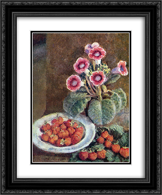 A flower in a pot and strawberries 20x24 Black or Gold Ornate Framed and Double Matted Art Print by Ilya Mashkov