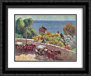 Alupka. Park, cabrank 24x20 Black or Gold Ornate Framed and Double Matted Art Print by Ilya Mashkov
