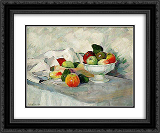 Apples and pears on white 24x20 Black or Gold Ornate Framed and Double Matted Art Print by Ilya Mashkov