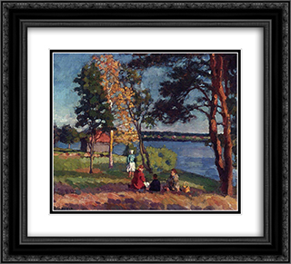 Bank of the Neva. Evening 22x20 Black or Gold Ornate Framed and Double Matted Art Print by Ilya Mashkov