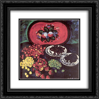 Berries on the background of a red tray 20x20 Black or Gold Ornate Framed and Double Matted Art Print by Ilya Mashkov