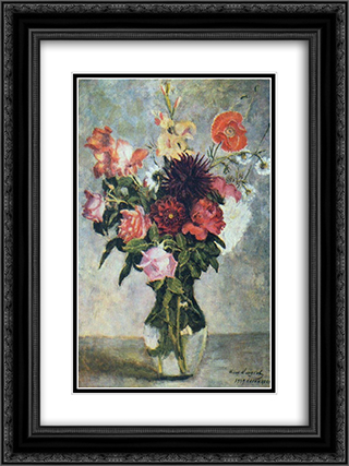 Bouquet in a glass vessel 18x24 Black or Gold Ornate Framed and Double Matted Art Print by Ilya Mashkov